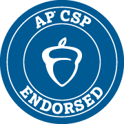 Blue acorn logo reading 'AP CSP Endorsed.'