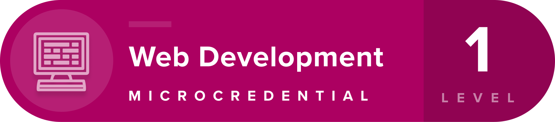 Web Development microcredentials level 1 badge
